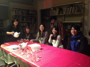 Us Interns enjoying our refreshing tea and some Chinese snacks at the exhibit Opening!